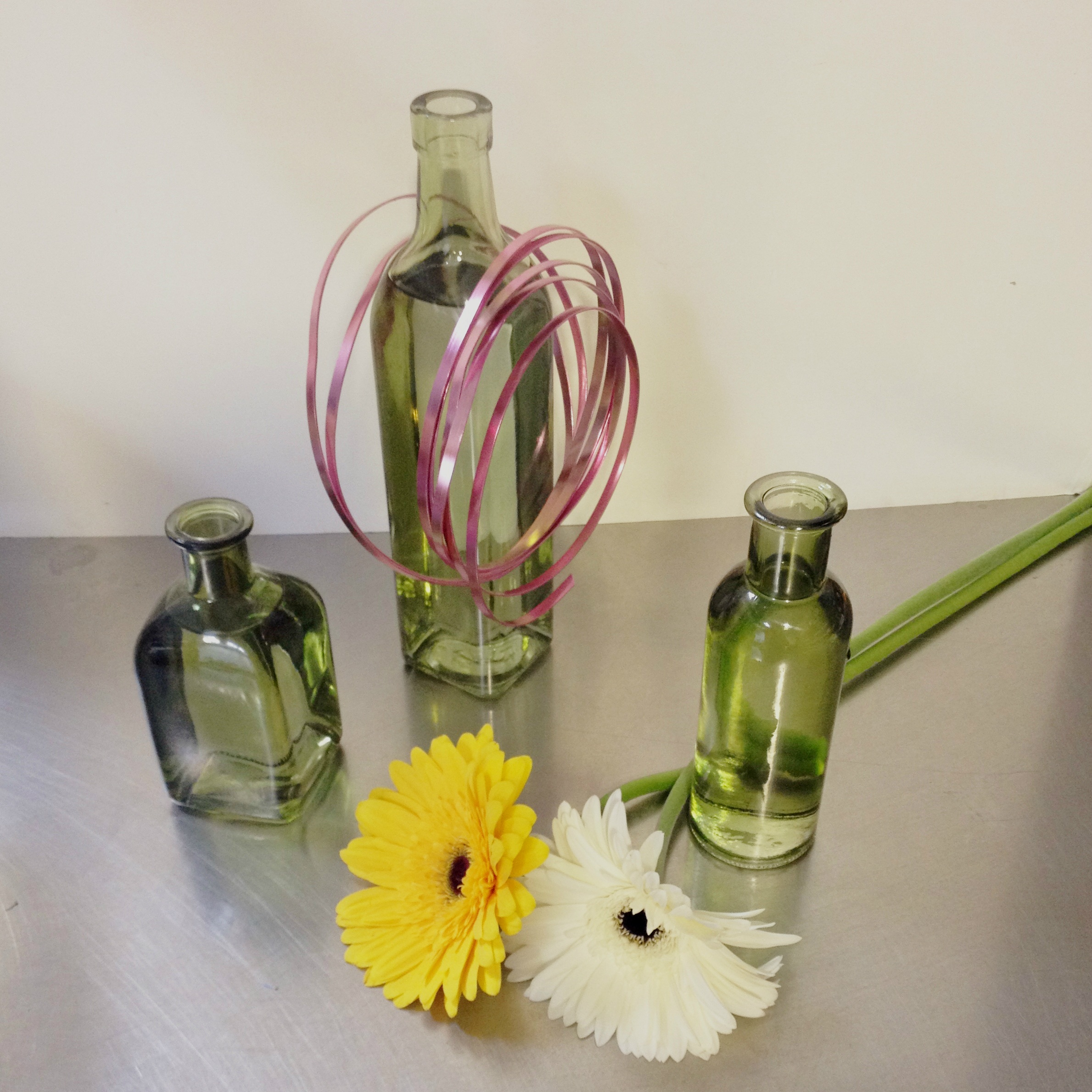 Vintage green bud vases