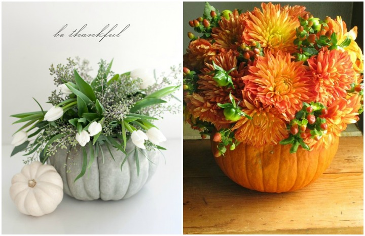 Thanksgiving Floral Ideas pumpkin bouquet